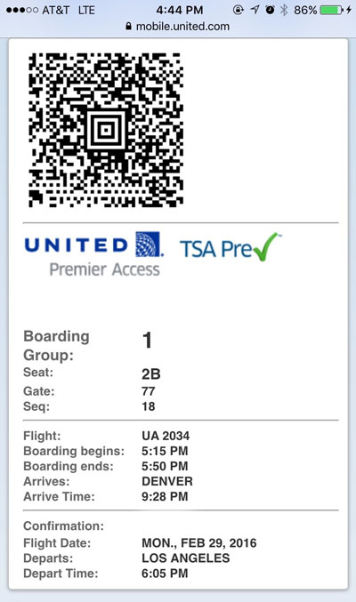 Boarding Pass with TSA PRE-CHECK