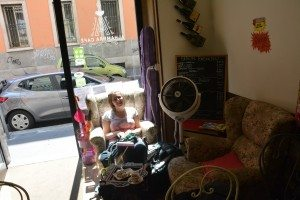 2015:07:10 Milan Italy Alhambra Cafe Seating Michelle Vegantravel