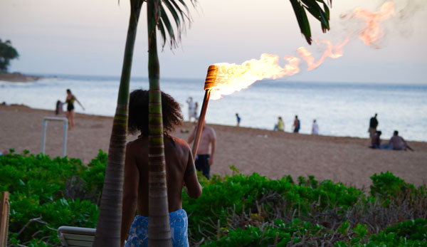 Vegan Bloggers - Maui Torch Lighting