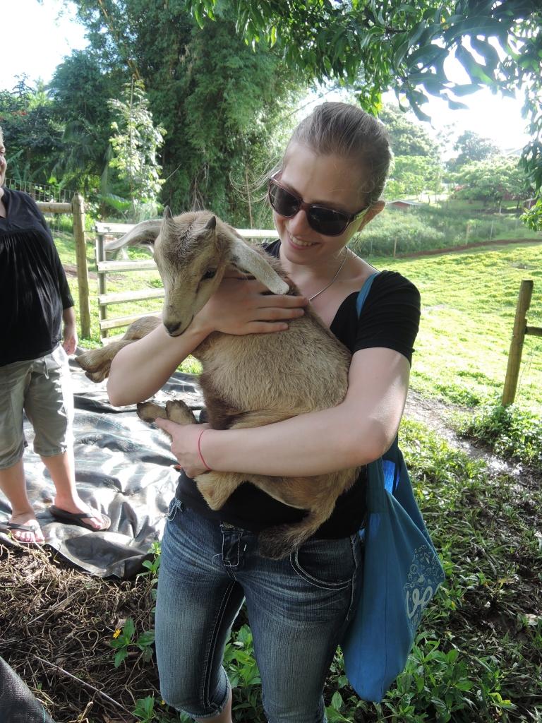 2016:06:02 Haiku Maui Hawaii Leilani Farm Animal Sanctuary VeganTravel Michelle Goat