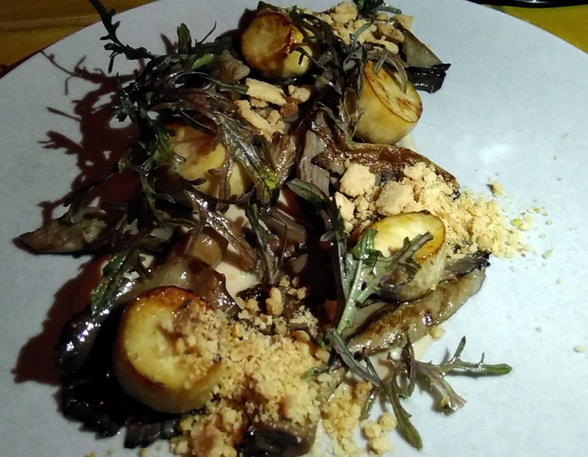 Miss Kaplan Forest Scallops w/ Artichokes, Mushrooms, & Macadamia Nuts