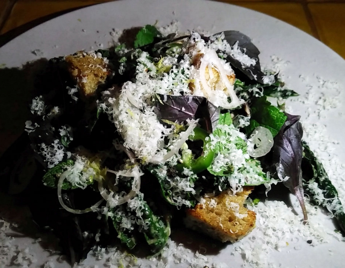 Miss Kaplan Kale Salad w/ Mint Onions, Black Beans, & Nut Cheese