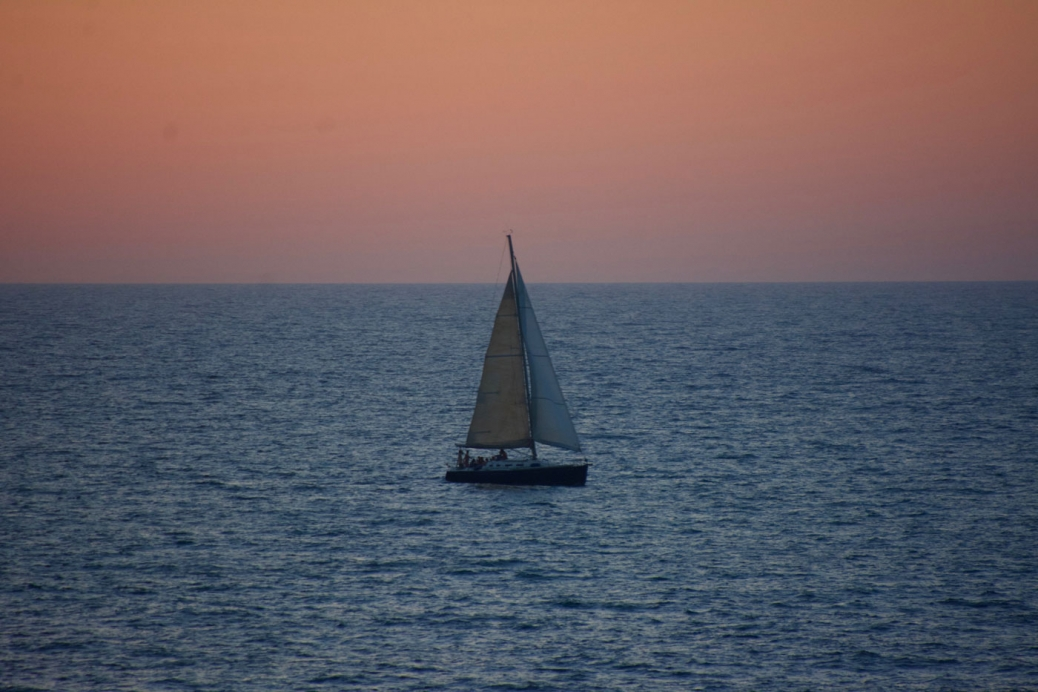 Tel Aviv Sunset with Sailboat