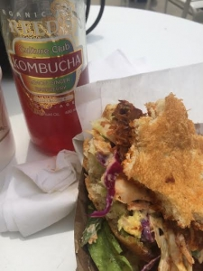 Yummm~ my first time trying a Jackfruit Sandwich! But NOT my first time trying Kombucha. Major yum.