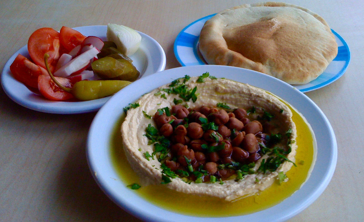 Traditional Israeli / Palestinian Meal - Hummus (chickpeas) and Ful (fava-beans)