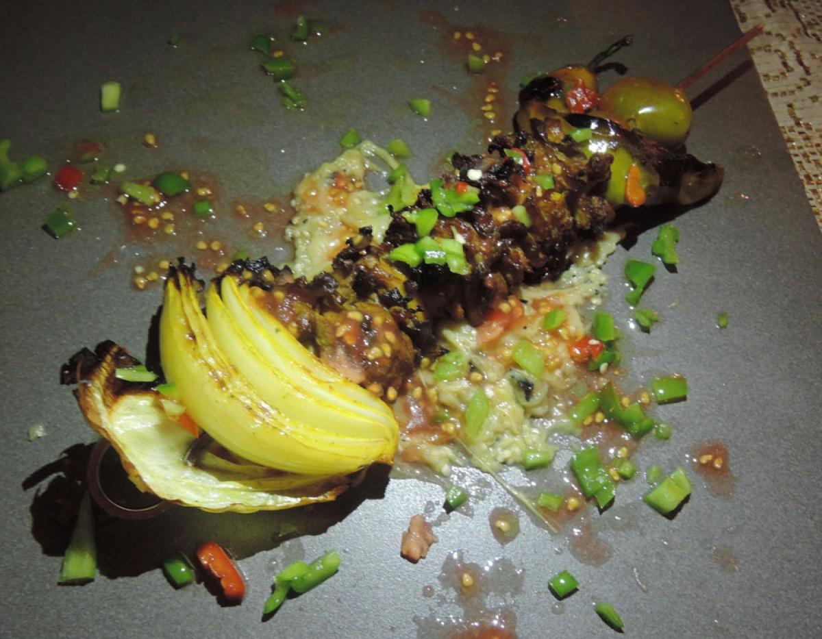 Zakaim Skewer on Coals w/ Oyster & Champignon Mushrooms