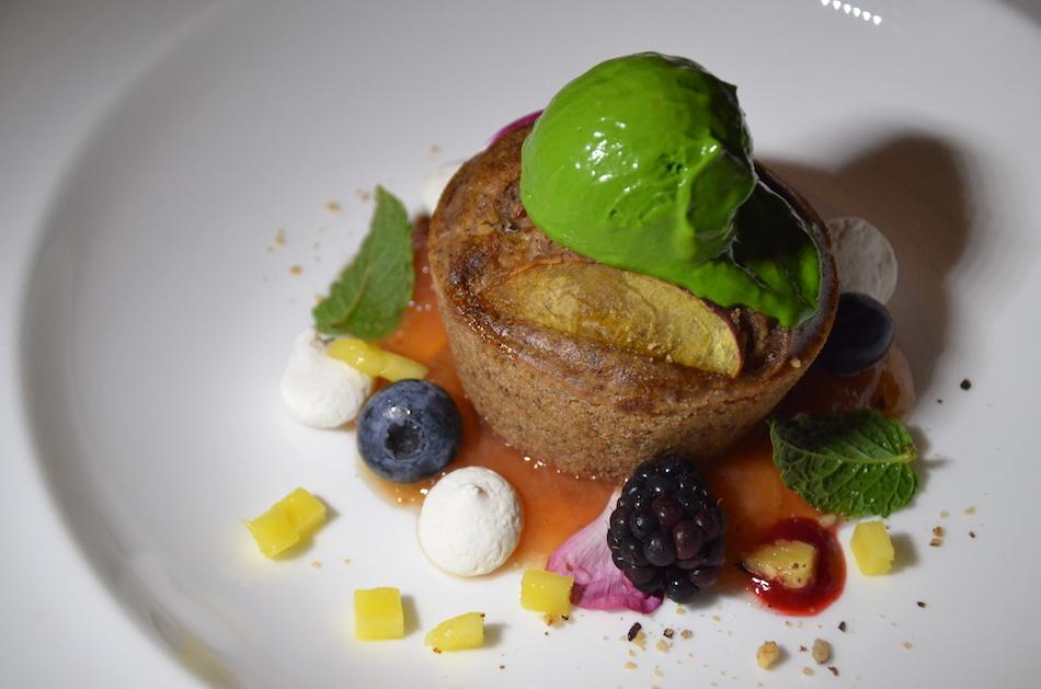 Peach cake with basil cashew ice-cream, berries, and aquafaba meringue