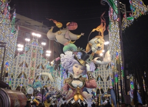 Falla and street lights in Russafa