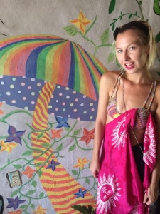 Because of the heat, this is what I wore on a typical day in SJDS. My yoga/bikini top and a sarong. My first sarong! It's a must in Central America.