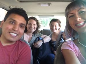 ROADTRIP!!! Me, Mauricio, Eva, and Mathilde en route to Ann Arbor and then Toronto!