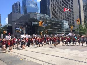Street blockade on University Ave downtown Toronto