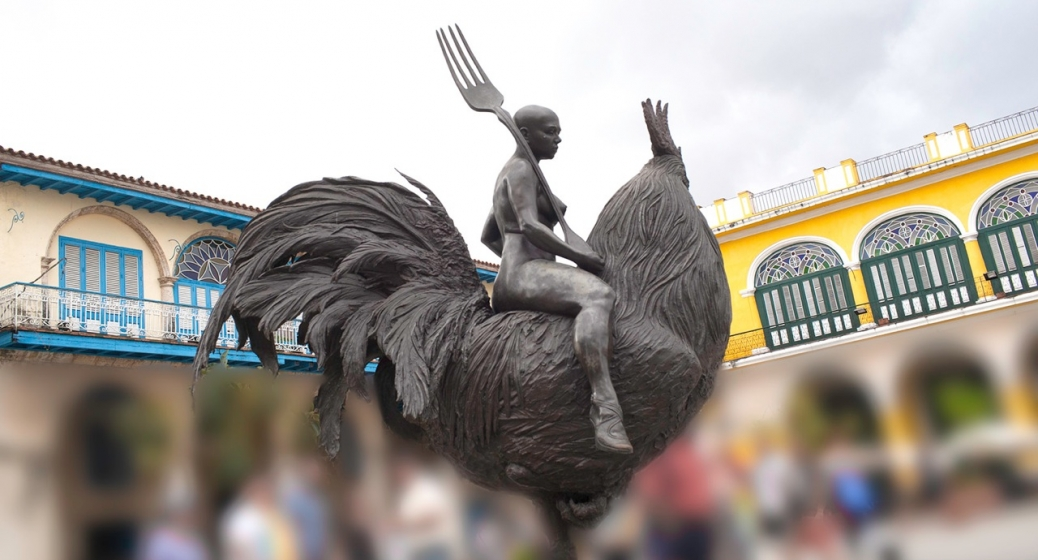 Bronze sculpture by Roberto Fabelo, in Plaza Vieja, Havana. The naked women, riding a rooster and armed with a fork, struck me as a symbol of human subjugation of the majestic animal kingdom driven by our lust for food.