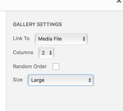 Create Gallery - Edit Settings