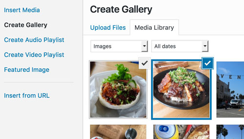 Create Gallery - photos selected