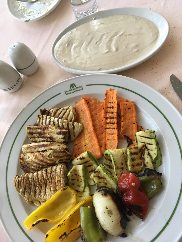 Grilled vegetables and tahini