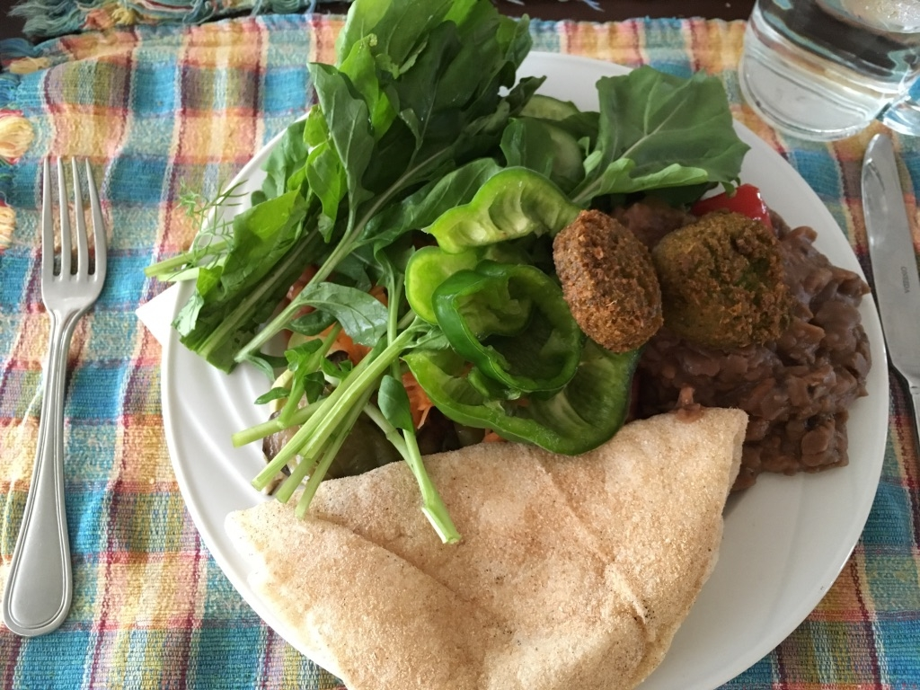 A dinner lunch example on a cruise with falafel, beans, salad, bread