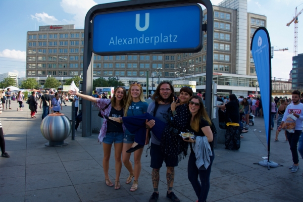 Marissa, Shae, Cody, Giselle, and Kristin in Alexanderplatz