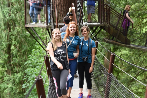 Michelle, Jenn, and Jaclyn at Capilano Suspension Bridge, British Columbia
