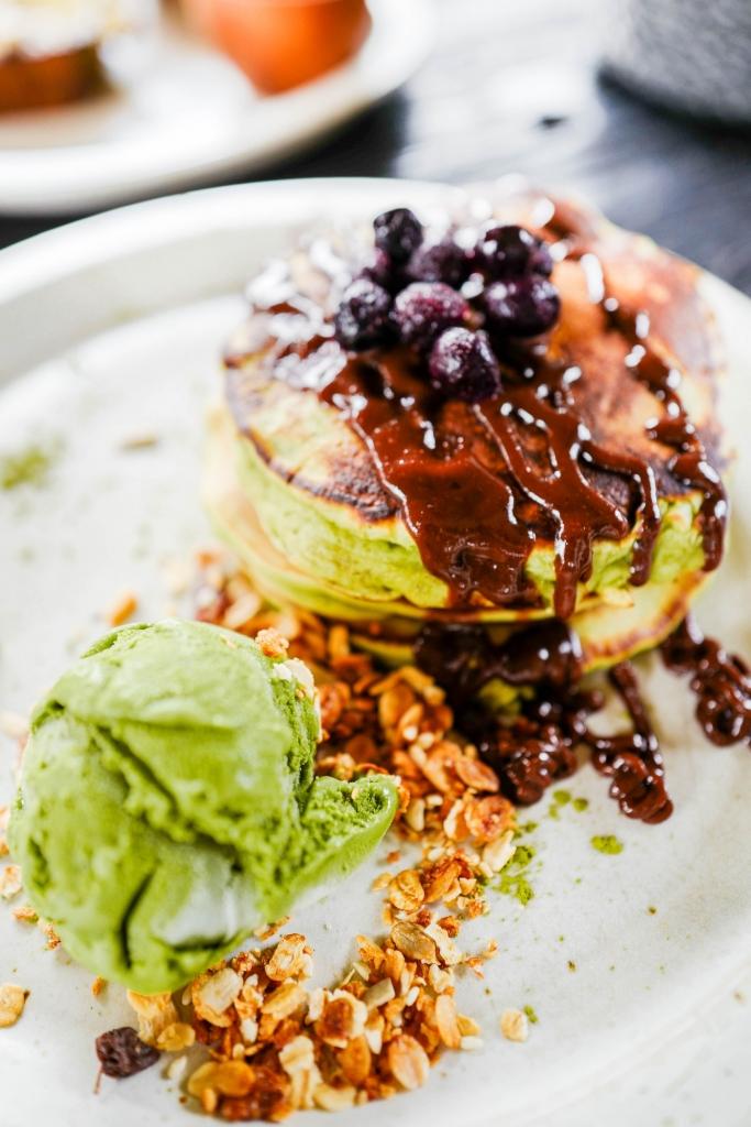 Vegan matcha pancakes at Matcha Cafe Canggu Bali