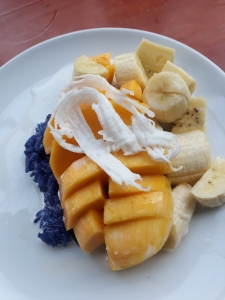 Mango sticky rice with banana and coconut
