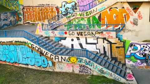 Vegan graffiti in Belgrade, Serbia