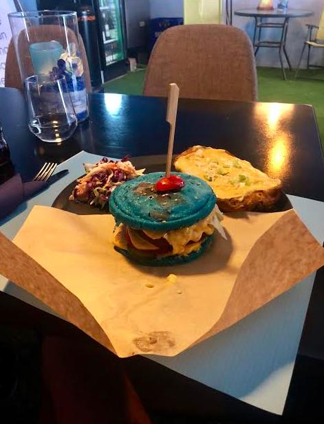 A Blue Spirulina Burger