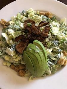 vegan caesar salad from top