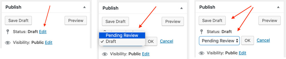 Save Draft as Pending Review